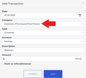 How to add new transaction 6 expense